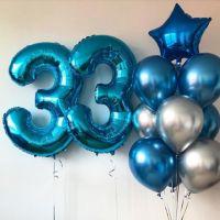 Композиция из фонтанов шаров хром с цифрами