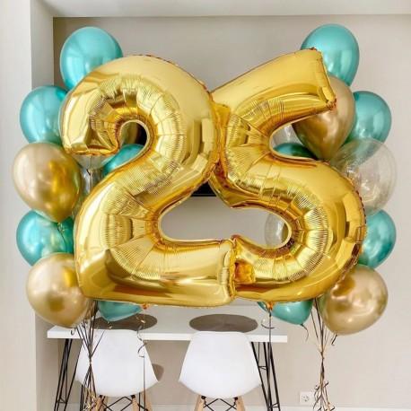 Композиция из фонтанов шаров хром с цифрами золотисто-бирюзовый