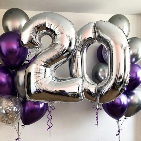 Композиция из фонтанов шаров хром с цифрами серебристо-лиловый