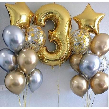 Композиция из фонтанов шаров серебристо-золотой хром с цифрой