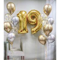 Композиция из фонтанов шаров серебристо-золотой хром и цифры