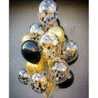 Фонтан из черно-золотых шаров 21 шт