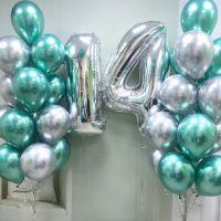 Композиция из фонтанов шаров серебристо-бирюзовый хром и цифры