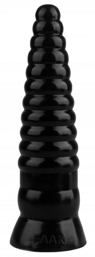 Черная рельефная коническая анальная втулка - 22,5 см.
