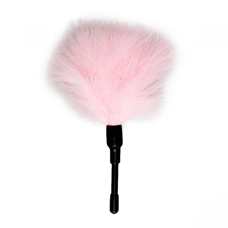 Розовый мини-тиклер с перышками - 17 см.