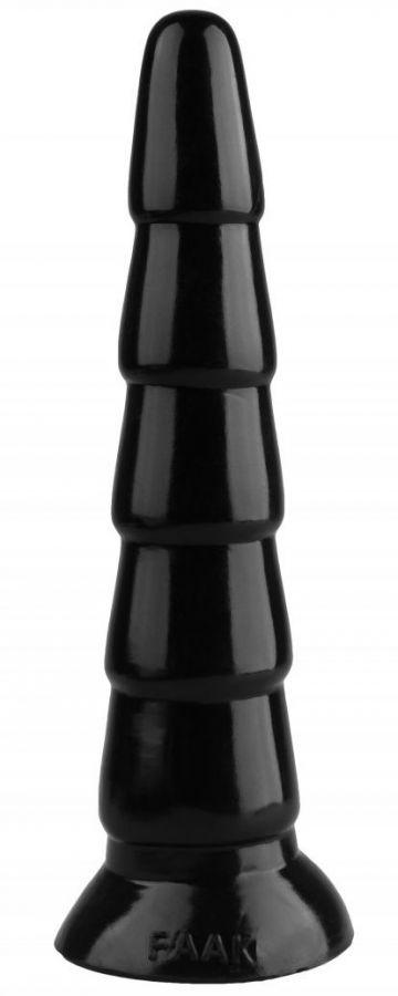 Черный анальный рельефный стимулятор - 27 см.