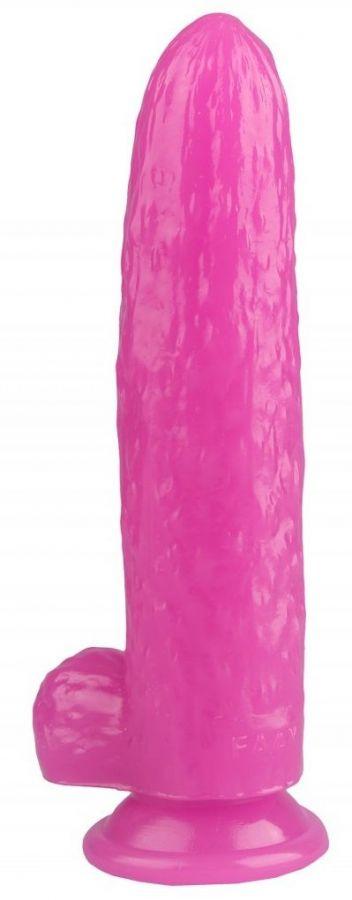 Розовый фаллоимитатор-огурец на присоске - 25 см.