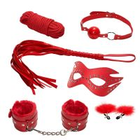 Эротический набор БДСМ из 6 предметов в красном цвете