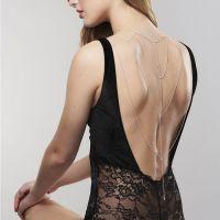 Серебристое плетеное украшение Magnifique Back and Cleavage Chain