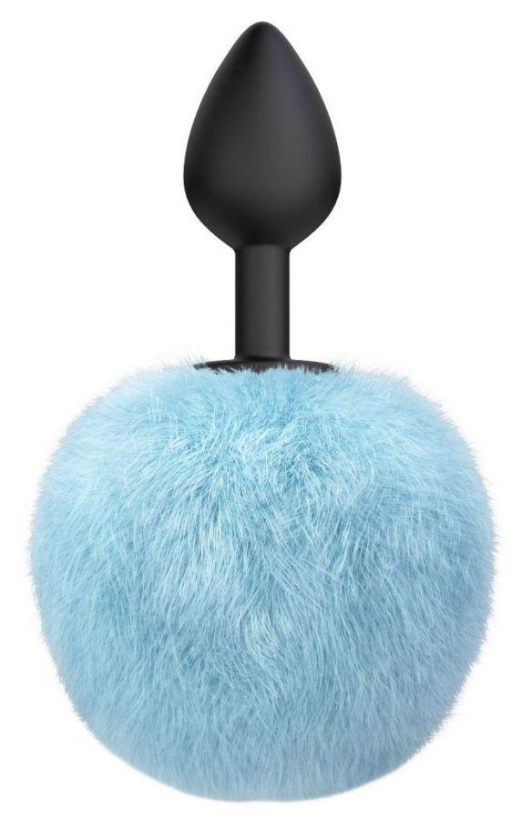 Черная анальная пробка с голубым пушистым хвостиком Fluffy