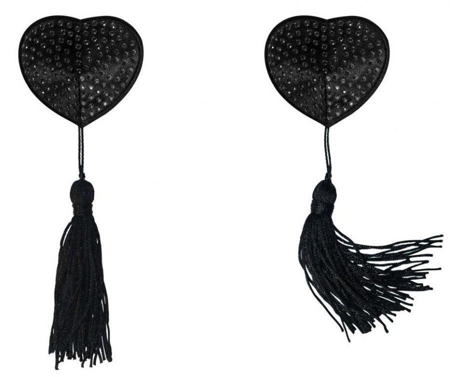 Черные пэстисы-сердечки Evans с кисточками