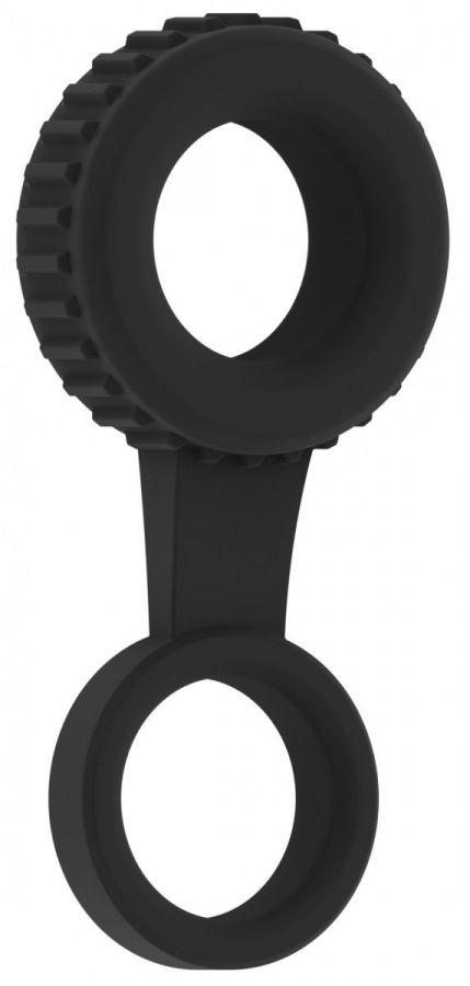 Черное кольцо для пениса и мошонки N 47 Cockring with Ball Strap