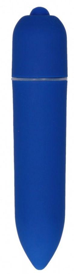 Синяя удлинённая вибропуля Power Bullet Black - 8,3 см.