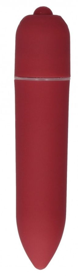 Красная удлинённая вибропуля Power Bullet Black - 8,3 см.