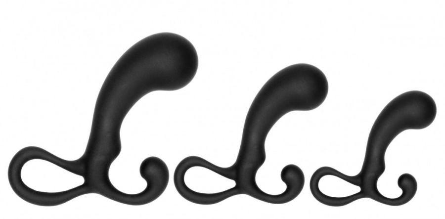 Набор из 3 черных массажеров простаты Piece Prostate Stimulator Set
