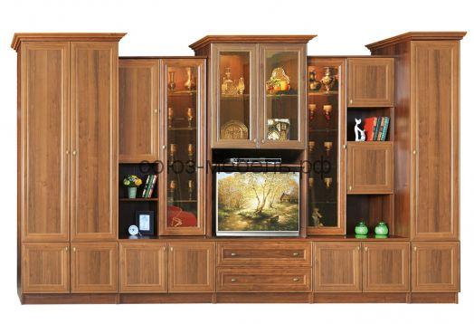 Гостиная Диана Люкс (шкаф платяной №13+шкаф комби №6 (550)+витрина №1+шкаф комби №7 (550)+пенал бельевой №15* (540))