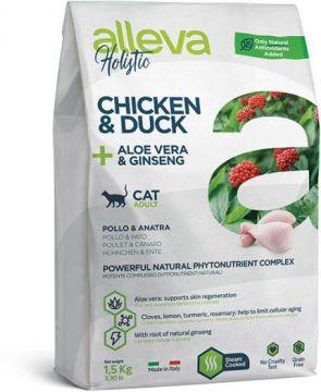 Alleva Holistic Chicken & Duck + Aloe vera & Ginseng (Аллева Холистик Курица, Утка, Алое вера и Женьшень) для кошек
