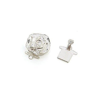 Замок для бус (застежка) Роза 14 мм цвет серебро TS-XH 618.02