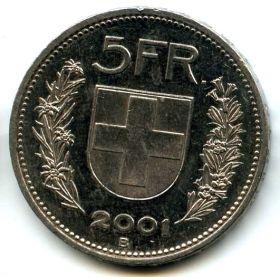 Швейцария 5 франков 2001 B