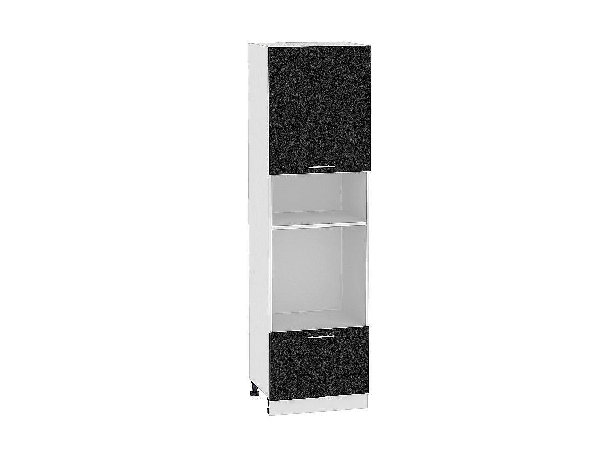 Шкаф пенал под бытовую технику Валерия ШП606 (чёрный металлик)