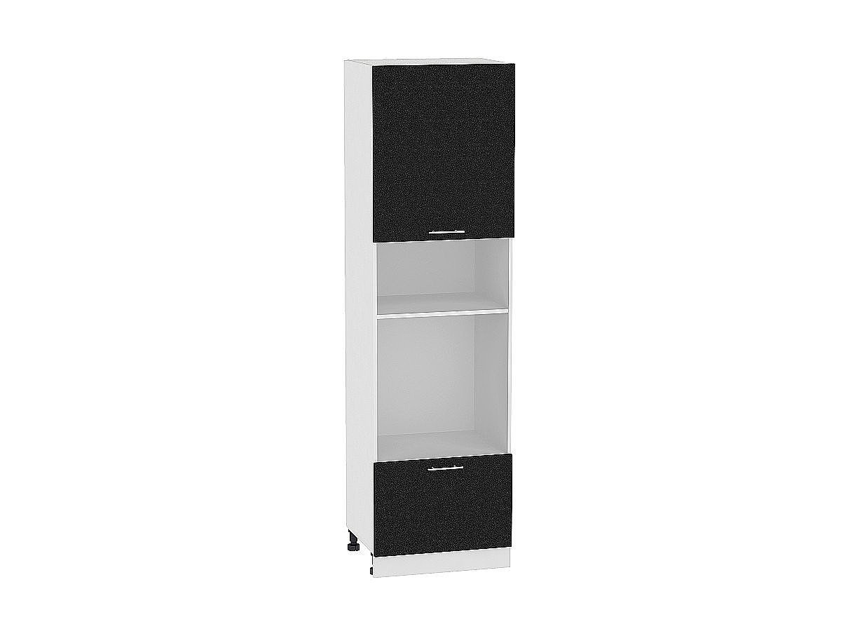 Шкаф пенал под бытовую технику Валерия ШП606Н (чёрный металлик)