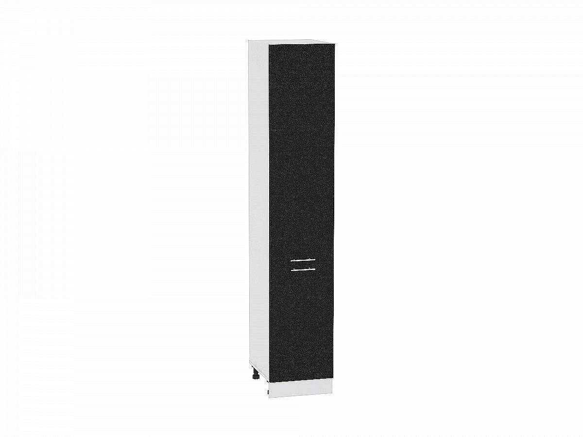 Шкаф пенал с 2-мя дверцами Валерия ШП400Н (чёрный металлик)