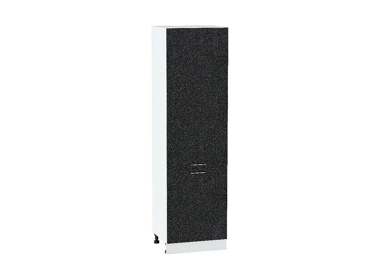 Шкаф пенал с 2-мя дверцами Валерия ШП600Н (чёрный металлик)