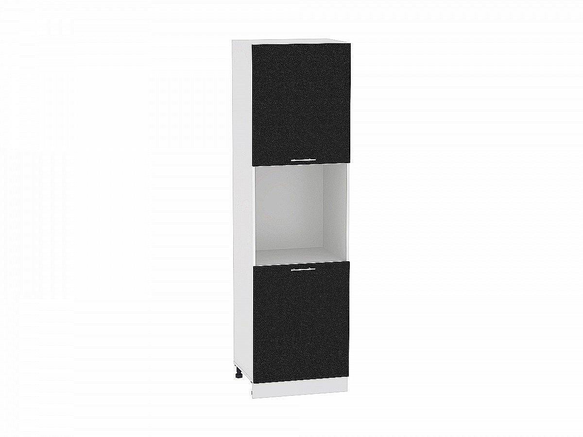 Шкаф пенал с 2-мя дверцами Валерия ШП600Н-Ф47 (чёрный металлик)