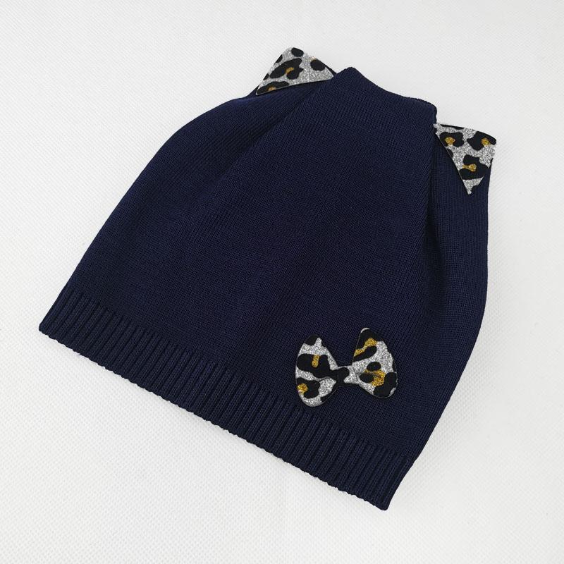 зд1230-58 Шапка вязаная одинарка кошечка Бантик темно-синяя