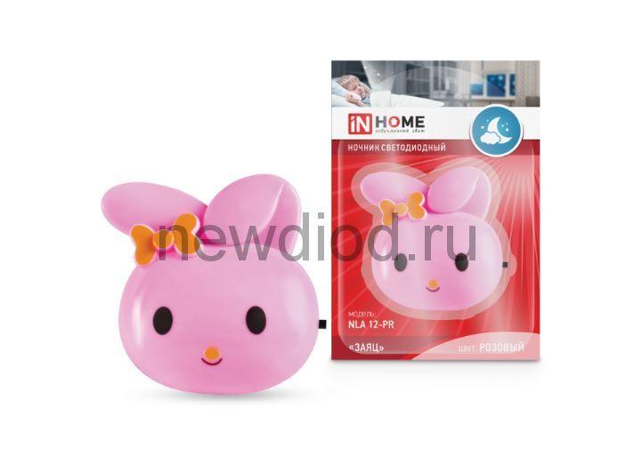 Ночник светодиодный NLA 12-RP ЗАЯЦ розовый с выкл 230В IN HOME