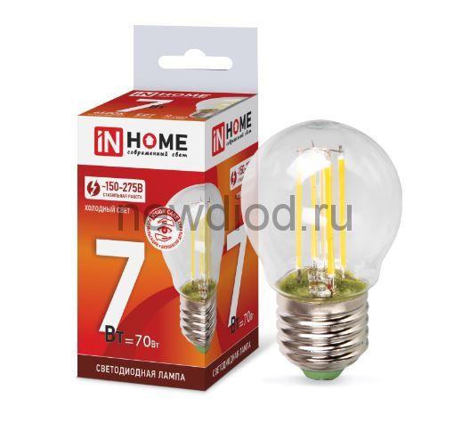 Лампа светодиодная LED-ШАР-deco 7Вт 230В Е27 6500К 630Лм прозрачная IN HOME