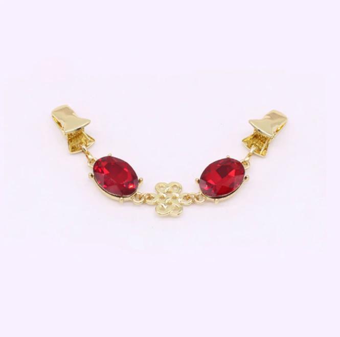 фото Застежка для кардигана на клипсах - зажимах Золото с камнями Красный DRS.07