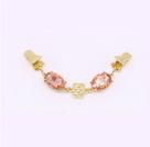 фото Застежка для кардигана на клипсах - зажимах Золото с камнями розовый DRS.07