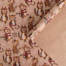 Бумага упаковочная крафтовая «Веселые тигрули», 50 × 70 см упак 10 лист
