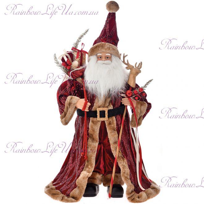Санта Клаус игрушка 65 см бордо