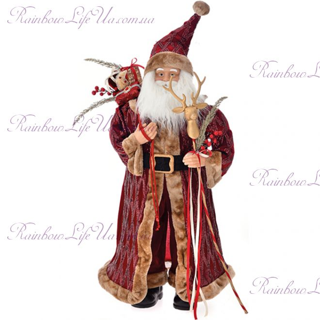 Новогодний Санта Клаус игрушка 95 см бургунди