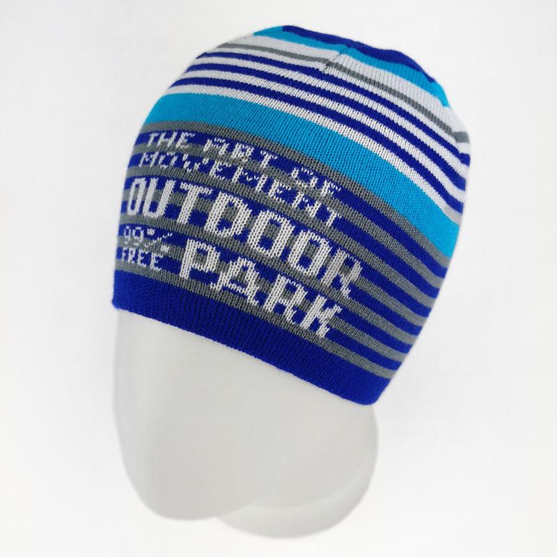 зм1199-53 Шапка колпачок вязаная полоски 99% free синяя