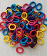 резинка бесшовная 25 мм ЦВЕТНОЙ МИКС  цена за упаковку 10 шт (5 оттенков*2 шт) ярко-желтый, фуксия, красный, бирюзовый, фиолетовый