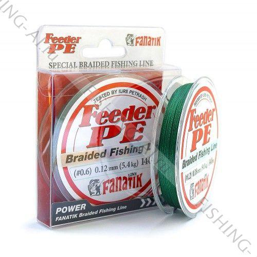 Плетёный шнур FANATIK Feeder PE X4 140 m (#0,6) 0,12 мм. GREEN