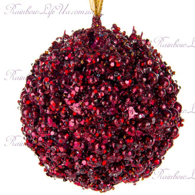"""Новогоднее елочное украшение 10 см """"Шар марсала"""""""