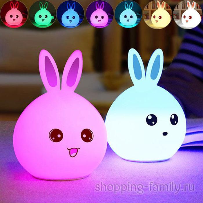 Силиконовый ночник Colorful Silicone Lamp, розовый зайчик