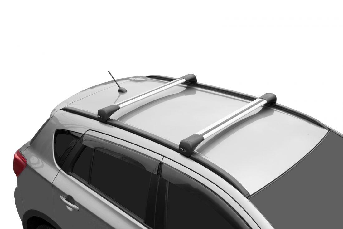 Багажник на крышу Hyundai Creta, 2021-..., Lux Bridge, крыловидные дуги (серебристый цвет)