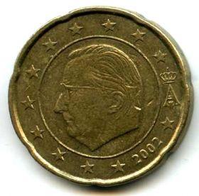 Бельгия 20 евроцентов 2002