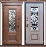 Входная дверь Аликанте Золотой Дуб / Белый патина золото с 2-х камерным стеклопакетом Россия
