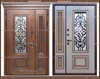 Входная дверь Аликанте Золотой Дуб / Белый патина золото 1200 х 2200 с 2-х камерным стеклопакетом Россия