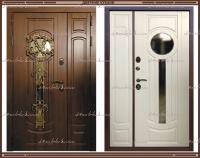 Входная дверь Афина Грецкий орех / Белый матовый 1100 х 2200 с 2-х камерным стеклопакетом Россия