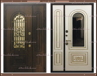 Входная дверь Валенсия Грецкий орех / Белый матовый 1100 х 2200 с 2-х камерным стеклопакетом Россия