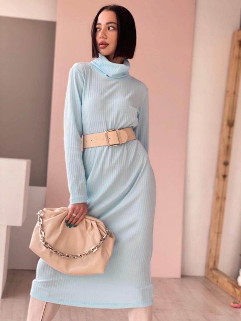 4523 Платье-свитер небесно-голубое