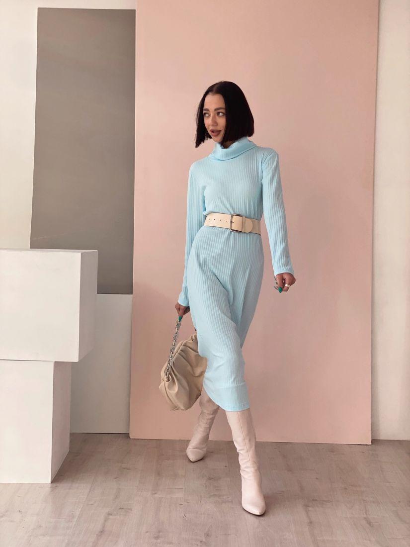 4523 Платье-лапша небесно-голубое