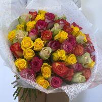 Акция: 51 разноцветная роза Кения